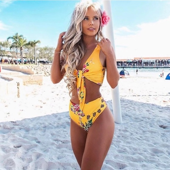 2e0fd02f9f010 Floral Yellow High Waisted Bikini Swim Set